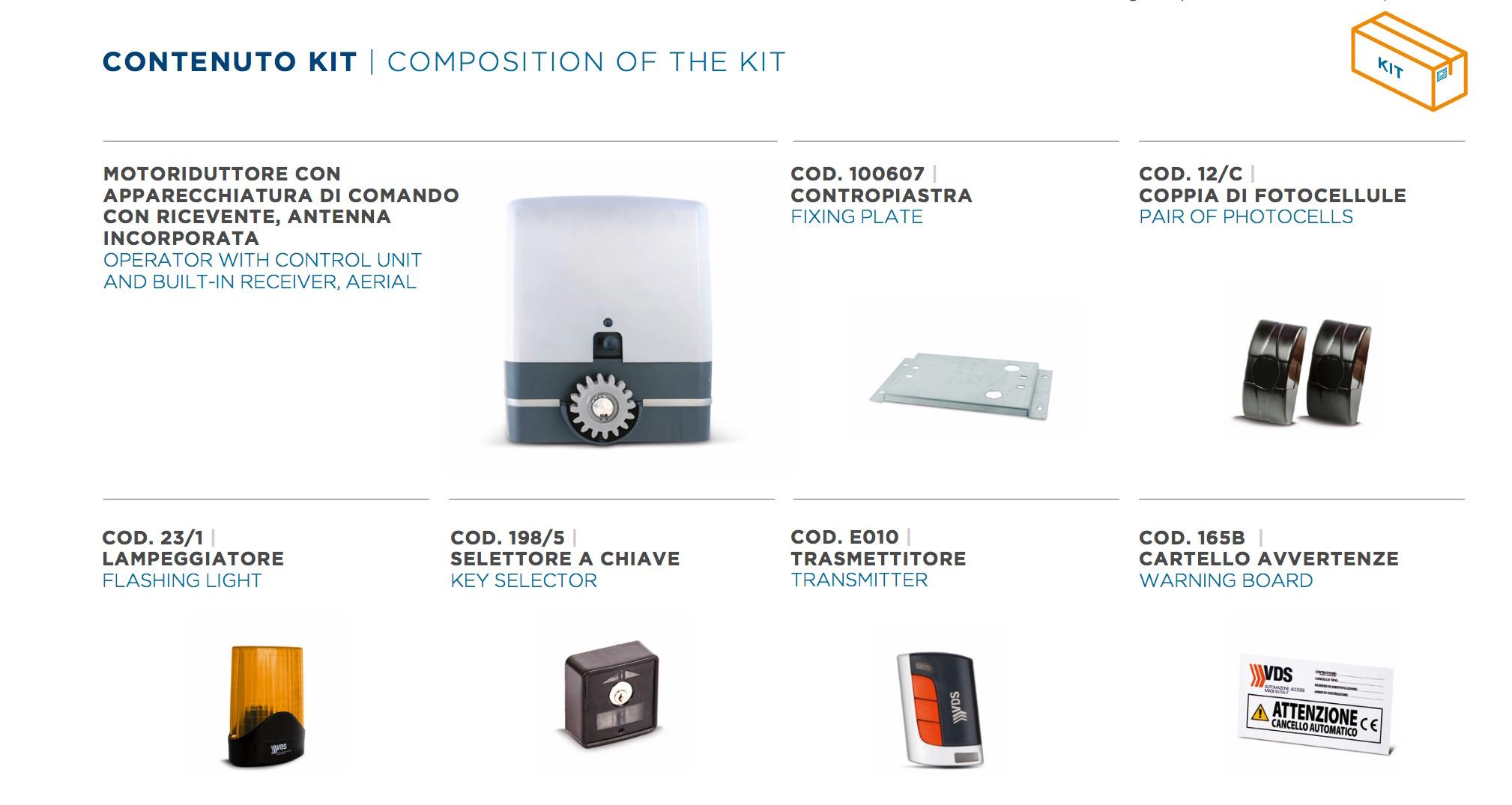 KIT CARRERA 800– Motoriduttore 230V