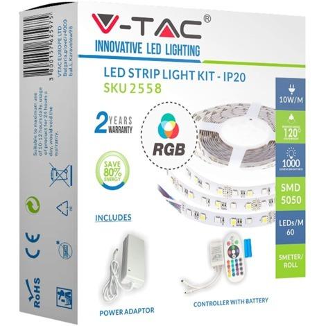 KIT COMPLETO STRISCIA LED RGB SMD5050 IP20 + CONTROLLER + ALIMENTATORE V-TAC VT-5050 1