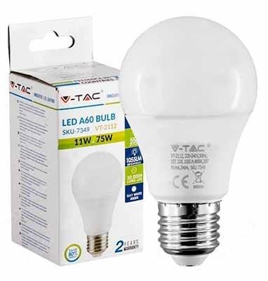 LAMPADINA LED SMD 11W E27 A60 6400K 4000k 2700k V-TAC VT-2112 3
