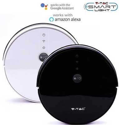 vtac 8650 v tac vt 5555 aspirapolvere lavapavimenti pulitura con acqua e base di ricarica corpo nero gestione remota da smartphone sku 8650 0b8