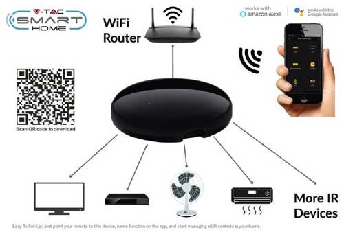 vtac 8651 v tac smart home vt 5151 controllo universale a distanza dei dispositivi infrarossi ir gestione remota da smartphone sku 8651 522