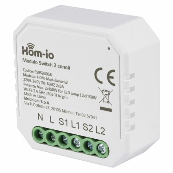 Modulo Dual Switch da incasso 10A 2 Canali WiFi HOM-iO 1